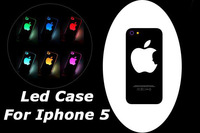 Retail & Wholesale Luminescent logo Flash LED Light luminous case cover For iPhone 5 5S New iphone