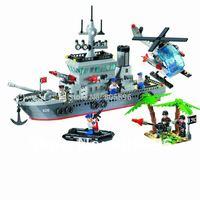 Without box No.820 Frigate Enlighten Building Block Set,3D Construction Brick Toys, Educational Block toy compatible with