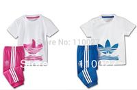 2014 baby short sleeve clothing set blue pink casual suits summern tshirt + pants 5pcs/lot wholesale children wear 100% cotton