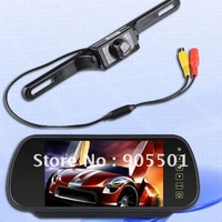 "7"" Car LCD Monitor Mirror + Wireless IR Reverse Car Rear View Backup Camera Kit"