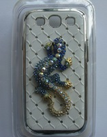 Free USPS/SINGPOST bling bling diamond rehinestone lizard chorme plated case cover for Galaxy SIII 9300 S3