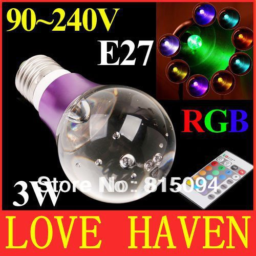 New E27 3W Color Changing RGB LED Crystal Rotating Lamp Light Bulb 85-240V free shipping,christmas decoration crystal lighting(China (Mainland))