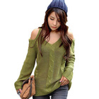 Free shipping  Drop Shipping 2013 Winter Clothes Top Quality Sexy Green Women's Sweater Crocher Dew Shoulder RG1210016(China (Mainland))