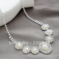 A0008 !5sets/Lot Free Shipping Wedding Jewelry Set Brass Silver Crystal Rhineston Lady' Costume Pearl Fashion Party Ornament