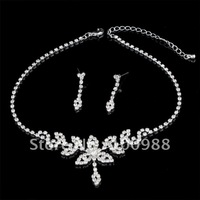 A0105 5sets/Lot Free Shipping!Bridal Jewelry Set Silver Crystal Rhinestone Lady Costume Fashion Partyware Wedding Accessories