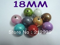Promotional, Large Big Size 18MM Mixed Color 170Pcs A Lot Chunky Acrylic Beads Spacer Wholesale For DIY Jewelry!