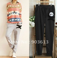 free shipping new women's fashion lovely three-dimensional Panda head lacing casual pants sport pants trousers