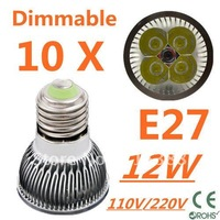 10pcs Dimmable LED High power E27 Base 4x3W 12W led Light led Lamp led Downlight led bulb spotlight FREE FEDEX and DHL