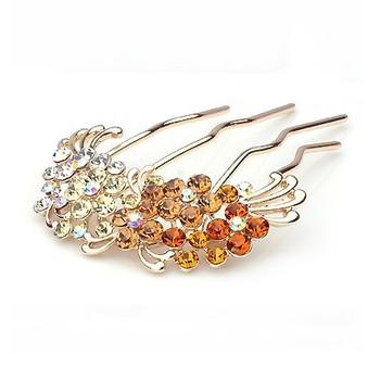 2015 Plant Wedding Real Trendy Barrette Quality Hair Jewelry Shinning Rhinestone Claw Pin Ornament Accessory Free Shipping>$10