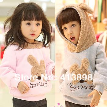 2014 female child Hoodies fashion design male Sweatshirts rabbit design baby child sweatshirt freeshipping Children's clothing