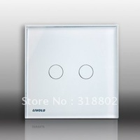Free Shipping Touch Light Switch, Black Crystal Glass Panel, UK Standard 2 Gangs AC 110~250V Wall Light Touch Screen Switch