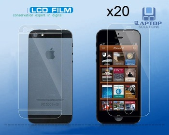 Wholesale - 3 Parts Design-- Back and Front Clear LCD Screen Protector for Apple iPhone 5 New Phone 20sets/lot