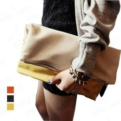 HOT SELLING fashion contrast color Clutch tote bag, pu leather Collapsing Hand grasp bag Wholesale/ Retail B427(China (Mainland))