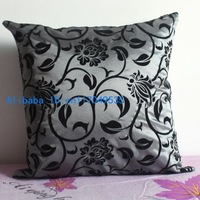 Pillowcase 1PCS 17 inch (45cm*45cm) Classic Floral Faux Silk Pillow Cushion Cover For Sofa or Bed P52(gray)
