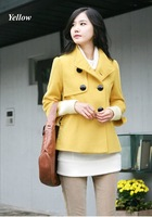 2014 new Women jacket wool blends winter jacket double breasted elegant lady coats short design Korean style