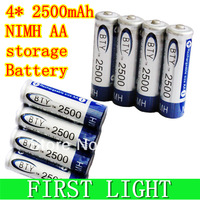 Free shipping 1.2V 4 * 2500mAh NIMH 15/51 HR6 MIGNON NI-MH AA rechargeable / storage  Battery / accumulator
