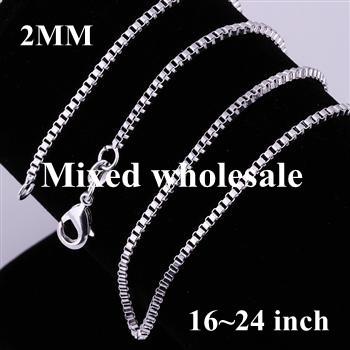 Fashion Silver Jewelry Wholesale 10PCS 925 Silver Necklace 16~24 inch 2mm Box Chain CC009-10 Free shipping(China (Mainland))