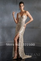 Free shipping KW8899 one shoulder dark champagne evening dress in Lebanon