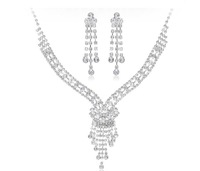 A0263 5sets/Lot Free Shipping Bridal Jewelry Set Silver Crystal Rhinestone Lady Costume Bridal Partyware Fashion Item