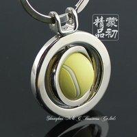 M84935 Sports Series Souvenirs Keyring Spinning Tennis Ball Keychain Key Chain Ring Key Fob Keyrings