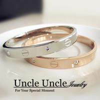 Brand Design!!! 14K Rose Gold Plated Titanium Steel Rhinestone LOVE Style Timelessness Oval Lady Bangle Bracelet Wholesale