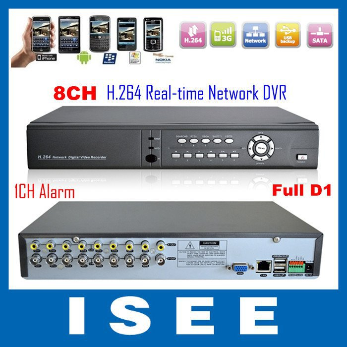 8CH H.264 Full D1 Real-Time DVR Network Security Digital Video Recorder With Alarm For CCTV System Free Shipping(China (Mainland))