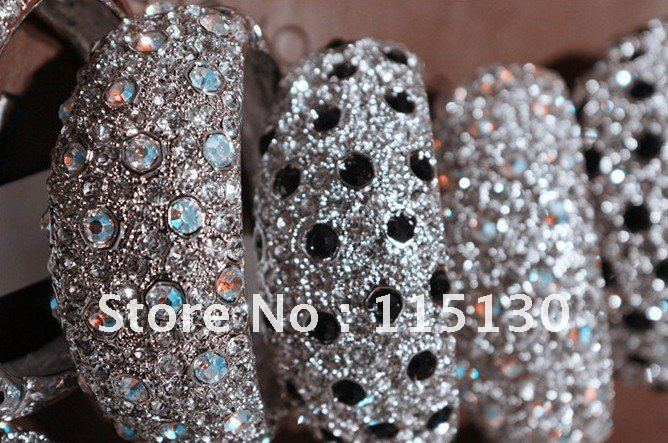 Vintage Silver Plated Shiny Black Rhinestone Cuff Bangles Bracelets For Women Metal Wrap Bracelets With Crystals Wholesale(China (Mainland))
