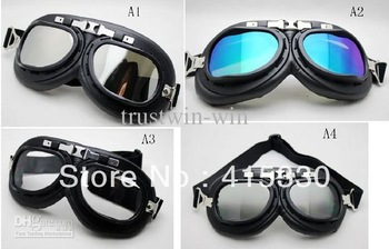 Motorcycle Scooter Steampunk Cruiser Helmet Goggle Eyewear Silver Lens T01H