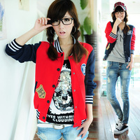 Preppy style, casual knitted baseball jacket with badge for autumn and winter; Free shipping!