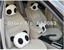 free shipping 1pair big size cute cartoon panda head pillow Car Seat Neck / Head Pillow <28*22cm>(China (Mainland))