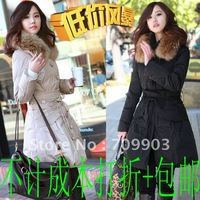 Free shipping High Quality Holiday Sale Dot  Large Fur Collar Slim Medium-long Outerwear Down Coat Winter Women