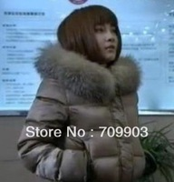 Free shipping High Quality Women's Short Design Slim Super Luxury Large Fur Collar Female Down Coat Winter Women