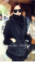 Holiday Sale High Quality 12 Cloak Roll Wool Medium-long Down Coat Winter Women Free shipping