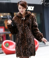 2013 Women with a hood marten overcoat long design mink fur coat long  hood