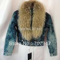 Free shipping 2014 vintage women's V-neck denim jacket female jeans jackets with fur collar plus size short denim coats women