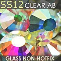 SS12 3-3.2mm, Clear Crystal AB 1440pcs/bag Non HotFix FlatBack Rhinestones,glass Glitter glue-on loose DIY nail crystals stones