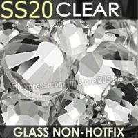 SS20 4.6-4.8mm,1440pcs/bag Non HotFix FlatBack white clear Rhinestones,Clear DMC glitters Glue-on loose nail crystal stone