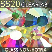 SS20 4.6-4.8mm,Clear Crystal AB 1440pcs/bag Non HotFix FlatBack Rhinestones,glass Glitter glue-on loose DIY nail crystals stones