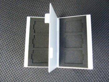 Silver Aluminum box Portable 6 in 1 memory card case SD/SDHC/MMC Card Cases