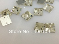sew on crystal beads 100pcs 10x10mm 3642 square sew on rhinestone  2 holes crystal clear