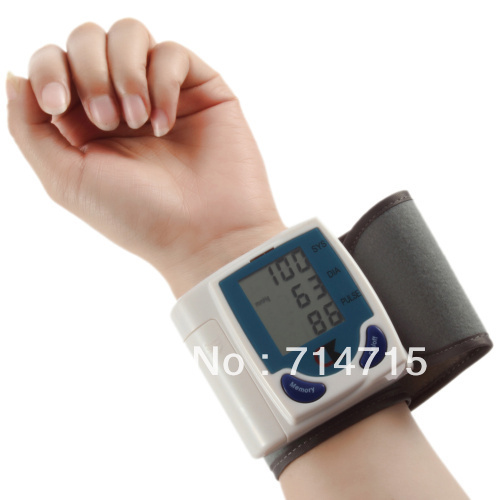 Free Shipping Hot!!! Digital Wrist/arm/cuff Blood Pressure Monitor Heart Beat Meter Sphygmomanometer(China (Mainland))