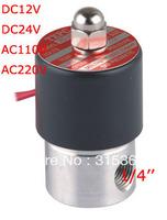 Free Shipping 1/4'' Stainless Steel Water Electric Solenoid Valve FKM 2S025-08 DC12V,DC24V,AC110V or AC220V