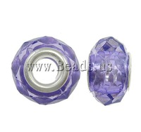 Free shipping!!!Acrylic European Beads,2013 new men, Rond, brass double core without troll, mixed colors, 14x9mm
