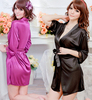 Fashion temptation female sexy robe satin open front short-sleeve bathrobes sleepwear lounge
