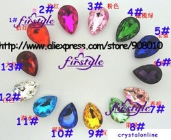 Pear glass crystal beads 20x30mm droplet fancy stone MORE COLORS~ U choose ,free shipping tear drop beads(China (Mainland))