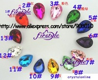 Pear glass crystal beads 20x30mm droplet fancy stone MORE COLORS~ U choose ,free shipping tear drop beads