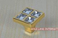 L27xW27xH22mm Free shipping K9 crystal glass 24K golden kitchen cupboard knob/drawer knobs