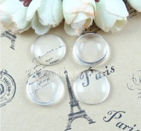 Free shipping wholesale 100pcs/lot round clear glass cabochons (many sizes to choose), flat back transparent glass dome flatback