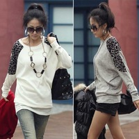Casual Korean Womens Long Sleeve Round Neck Loose Top Leopard T-Shirt Blouse E0117