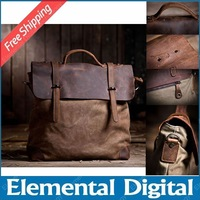 Free shipping 2014 Vintage commercial cowhide handbag canvas + crazy horse leather  shoulder bag fashion canvas casual bag